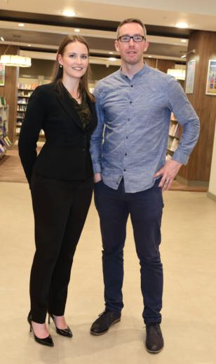 Siobhan Wall and John O'Brien at the launch of Aoife Hearne's new book The Plan, Eason O'Connell St