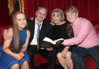 Paddy Armstrong with his wife Caroline and his children Sophie and John pictured at the launch of Gu